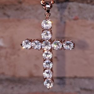 "Rose Gold Religious Cross & 20"" Cuban Chain"